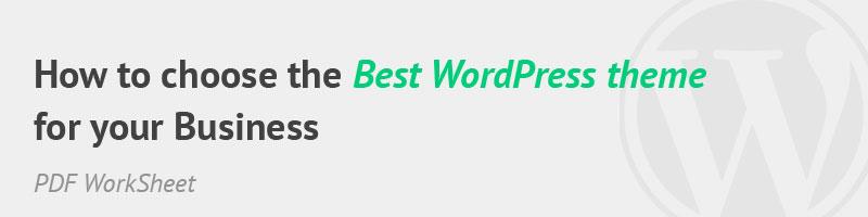 Get the PDF WorkSheet to choose the best WordPress theme