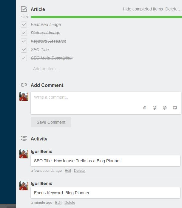 Article in Trello Editing List