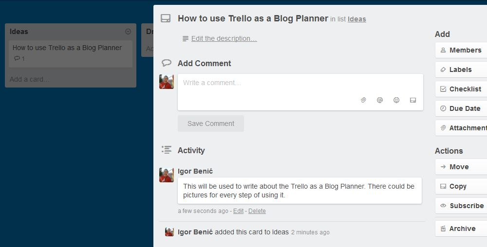 Article Idea in Trello Board