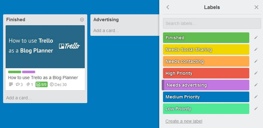 Trello Article with Labels