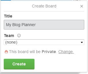 Creating the Trello Board for Blog Planner