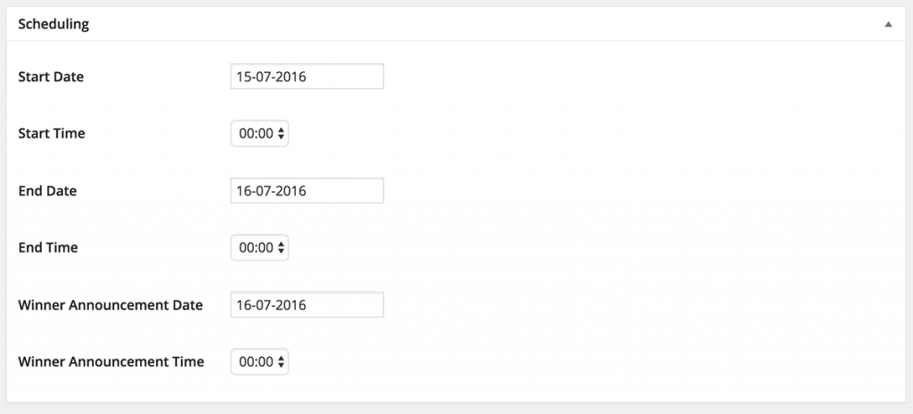 Image with Schedule options