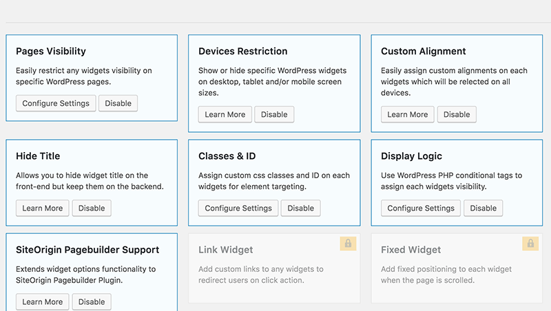 Widget Options Settings Page