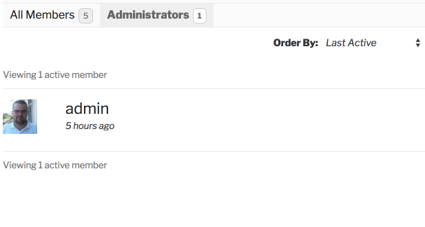 Showing only administrators on the Administrator Tab