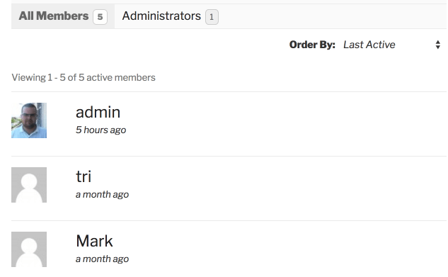 BuddyPress Directory showing Tab